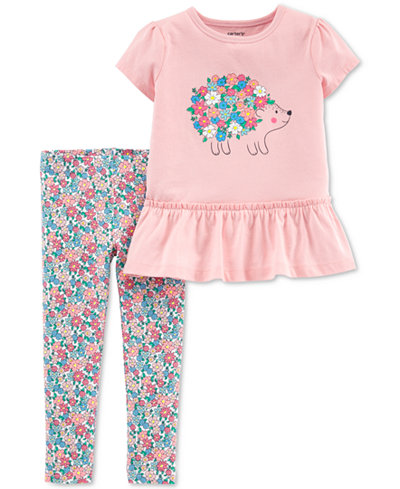 Carter's Baby Girls 2-Pc. Hedgehog Graphic Tunic & Floral-Print Leggings Set