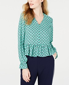 Maison Jules Printed Ruffle V-Neck Top, Created for Macy's