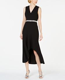 Calvin Klein Rhinestone Surplice Gown