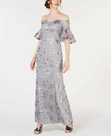 Calvin Klein Off-The-Shoulder Sequin Embroidered Gown