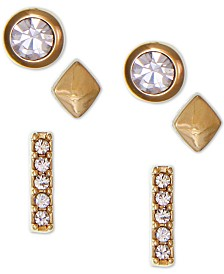 Laundry by Shelli Segal Gold-Tone 3-Pc. Set Crystal Stud Earrings