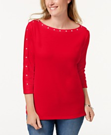 Karen Scott Cotton Studded Top, Created for Macy's