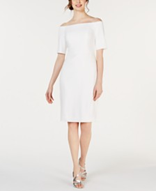 Calvin Klein Off-The-Shoulder Crepe Dress