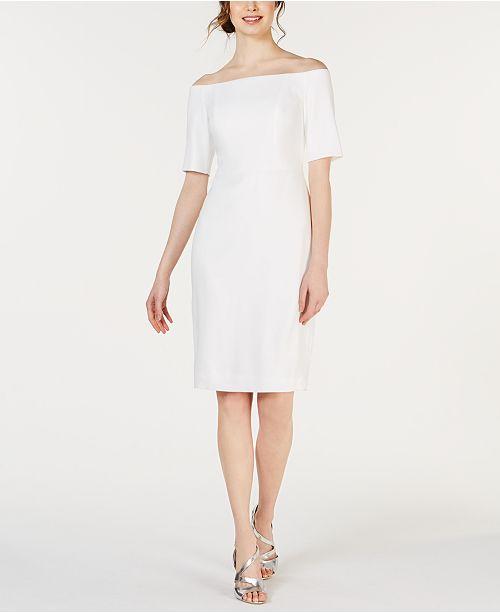 Calvin Klein Off-The-Shoulder Crepe Dress