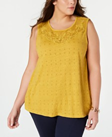 Lucky Brand Plus Size Appliquéd Sleeveless Top