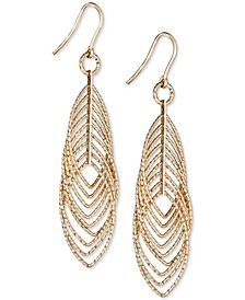 Textured Marquise Multi-Ring Drop Earrings in 14k Gold-Plated Sterling Silver