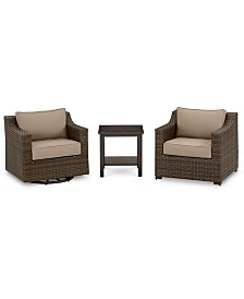 Camden Outdoor Aluminum 3-Pc. Seating Set (1 Chair, 1 Swivel Chair & 1 End Table), Created for Macy's