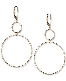 Double Circle Textured Drop Earrings in 14k Gold