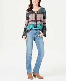 Geo-Print Peasant Top & Tummy-Control Jeans, Created for Macy's