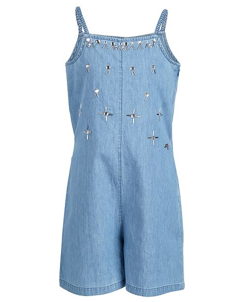 GUESS Big Girls Embellished Cotton Denim Romper, Created for Macy's