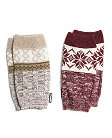 Muk Luks Women's 2 Pair Pack Reversible Snowflake Boot Toppers