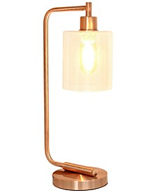 Simple Designs Bronson Antique Style Industrial Iron Lantern Desk Lamp with Glass Shade
