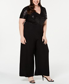 R & M Richards Plus Size Sequined Wide-Leg Jumpsuit