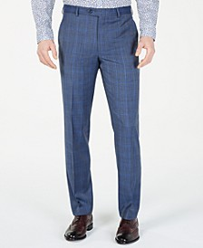 Men's Classic-Fit Airsoft Stretch Light Blue Plaid/Windowpane Suit Pants
