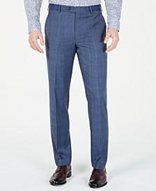 Men's Classic-Fit Airsoft Stretch Light Blue Plaid/Windowpane Suit Pants