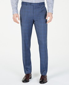 Michael Kors Men's Classic-Fit Airsoft Stretch Light Blue Plaid/Windowpane Suit Pants