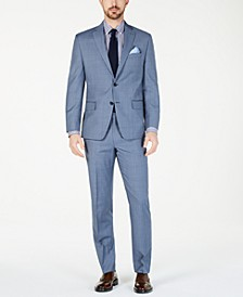 Men's Classic-Fit Airsoft Stretch Light Blue Windowpane Suit Separates