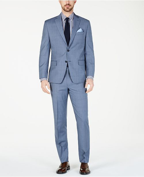 Michael Kors Men's Classic-Fit Airsoft Stretch Light Blue Windowpane Suit Separates