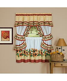 Black Eyed Susan Cottage Window Curtain Set, 57x36