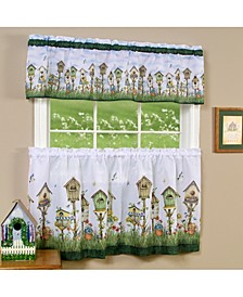 Home Sweet Home Tier and Valance Window Curtain Set, 58x36