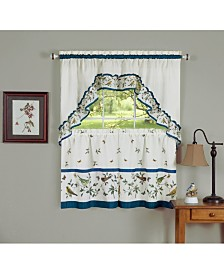 Love Birds Printed Tier and Swag Window Curtain Set, 57x24