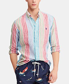 Polo Ralph Lauren Men's Classic-Fit Linen Striped Shirt