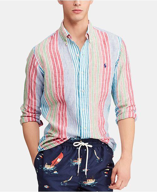 Linen Fit Men's Classic Striped Shirt kXPiuZ