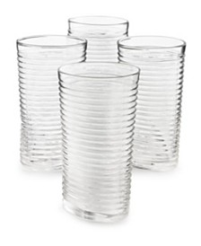 The Cellar Set of 4 Clear Ribbed Highball Glass, Created for Macy's