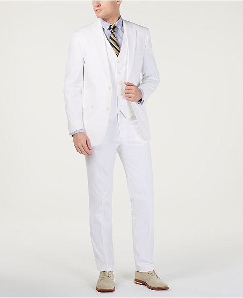 Tommy Hilfiger Men's Modern-Fit THFlex Stretch Solid White Suit Separates