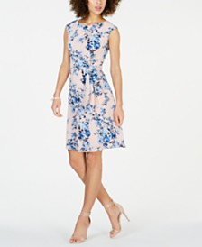 Connected Petite Floral-Print Tie-Waist Dress