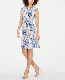 Connected Petite Floral-Print Tie-Waist Dress