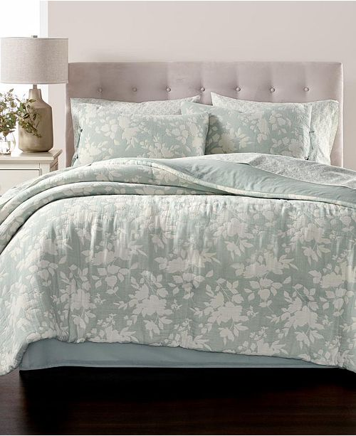 Martha Stewart Collection Floral Silhouette 180-Thread Count 8-Pc. Comforter Sets, Created for Macy's