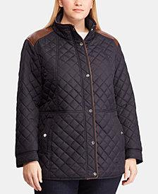 Lauren Ralph Lauren Plus Size Faux-Leather-Trim Quilted Coat