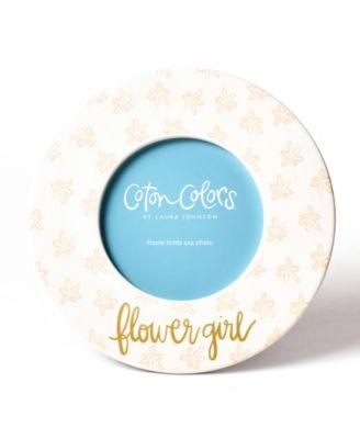 by Laura Johnson Floral Flower Girl Round Frame Blush