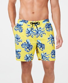 "Club Room Men's Quick-Dry Performance Octopus-Print 7"" Swim Trunks, Created for Macy's"