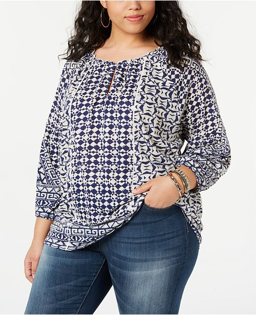 Lucky Brand Plus Size Printed Shirred-Neck Top