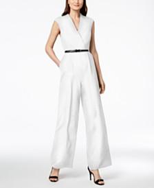 Calvin Klein Belted Wide-Leg Jumpsuit