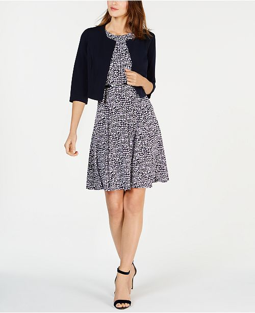 edf0164a3d434d ... Jessica Howard Petite 3/4-Sleeve Jacket & Belted Fit & Flare Dress ...