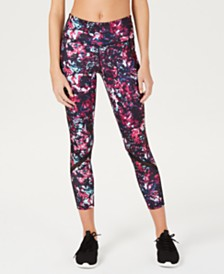 Ideology Abstract Floral Printed Mesh-Trimmed Leggings, Created for Macy's