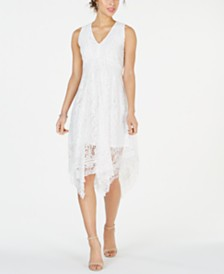 Taylor Petite V-Neck Lace Midi Dress