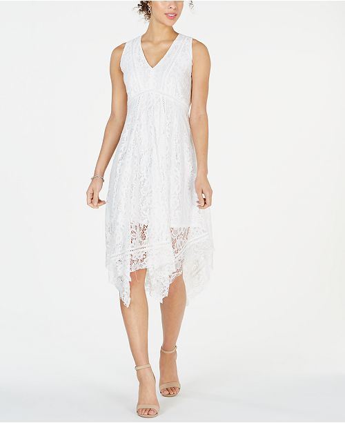 Petite V-Neck Lace Midi Dress