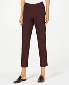 Eileen Fisher Washable Crepe Yoked Slim Ankle Pants, Regular & Petite
