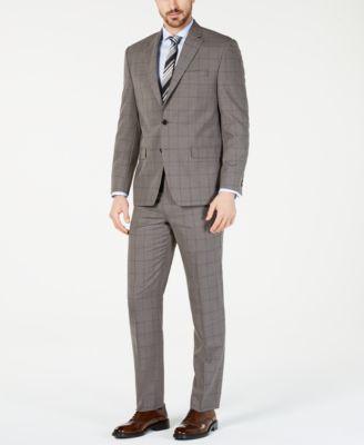 Men's Classic-Fit UltraFlex  Stretch Taupe Windowpane Suit Pants