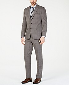 Men's Classic-Fit UltraFlex  Stretch Taupe Windowpane Suit Separates