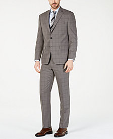 Lauren Ralph Lauren Men's Classic-Fit UltraFlex  Stretch Taupe Windowpane Suit Separates
