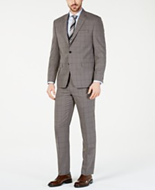 Lauren Ralph Lauren Men's Classic-Fit UltraFlex  Stretch Taupe Windowpane Suit Separates