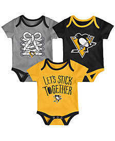 Outerstuff Pittsburgh Penguins Five On Three Creeper 3 Pc Set, Infants (0-9 Months)