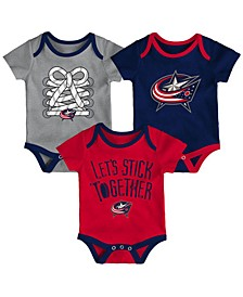 Columbus Blue Jackets Five On Three Creeper 3 Pc Set, Infants (0-9 Months)
