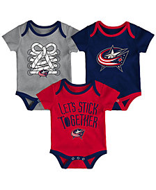 Outerstuff Columbus Blue Jackets Five On Three Creeper 3 Pc Set, Infants (0-9 Months)