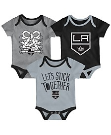 Outerstuff Los Angeles Kings Five On Three Creeper 3 Pc Set, Infants (0-9 Months)